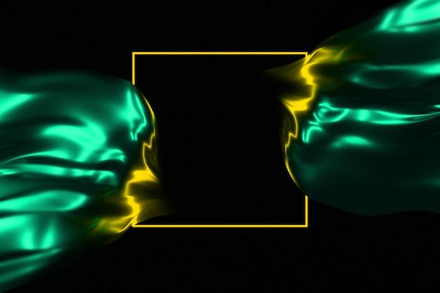 Neonowy blask w ciemnej ramie i płynące lśniącej tkaniny 3d ilustracji