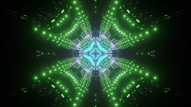 Neonowy futurystyczny tunel z symetrycznym wzorem w kolorze zielonym i niebieskim jako ilustracja 3d