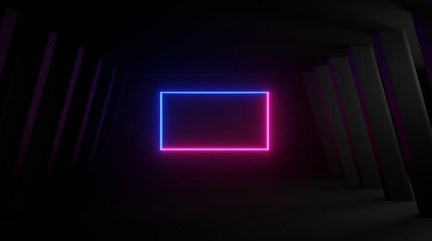 Neonowy kształt prostokąta na czarnym tle