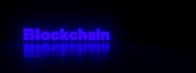Neonowy napis blockchain nad fioletem