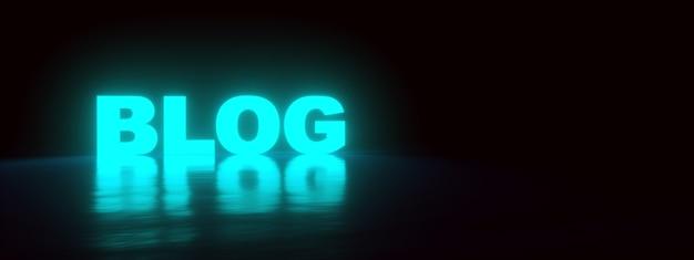 Neonowy napis na blogu w ciemności