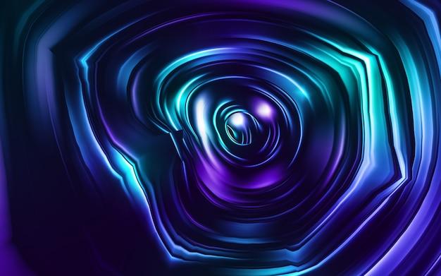 Neonowy niebieski, granatowy, fioletowy. kolorowy wir holograficzny, pryzmat wirowy. prędkość ruchu lasera. wzór tła, tapety, reklamy. styl retro vaporwave, zniekształcona sztuka fraktalna.
