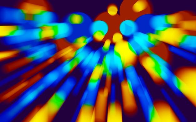 Neonowy niebieski, żółty, czerwony. kolorowy wir holograficzny, pryzmat wirowy. prędkość ruchu lasera
