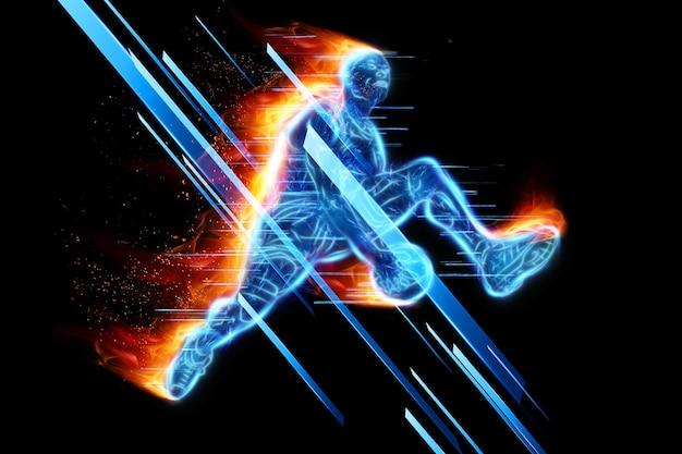 Neonowy obraz profesjonalnego koszykarza skaczącego z piłką. kreatywny kolaż, ulotka sportowa. koncepcja koszykówki, sport, gra, zdrowy styl życia. skopiuj miejsce, ilustracja 3d, renderowanie 3d.
