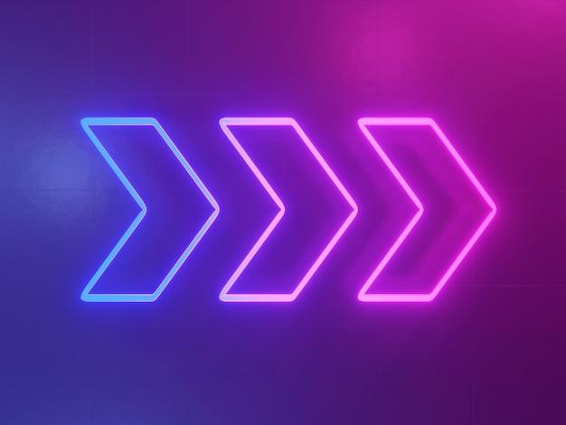Neonowy rozjarzony strzałkowaty pointeru tła 3d abstrakcjonistyczny i błękitny abstrakcjonistyczny rendering