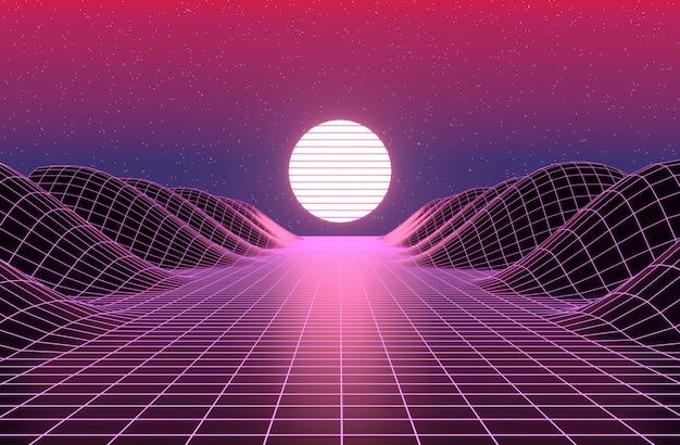 Neonowy styl lat 80., retro gra krajobraz renderowania 3d.