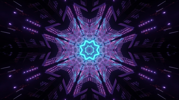 Neonowy symetryczny korytarz z wzorem gwiazdy na końcu świecącym jako tło ilustracji 3d