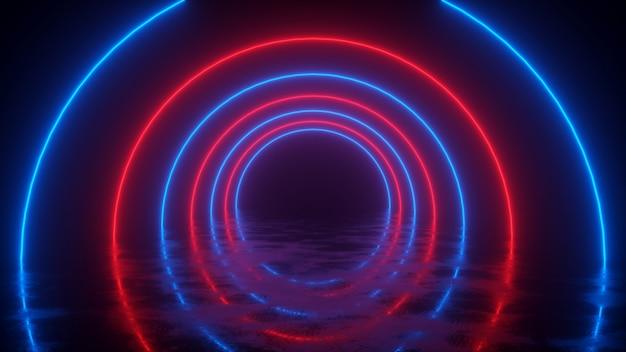 Neonowy tunel z czerwonymi i niebieskimi kółkami z odbiciem na podłodze renderowania 3d