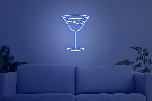 Neonowy współczesny wystrój wnętrz salonu