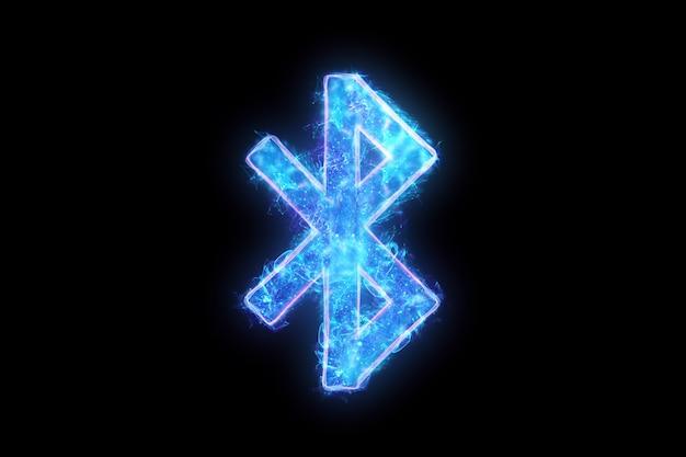 Neonowy znak bluetooth na czarnym tle, izoluj.