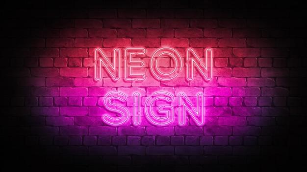 Neonowy znak na ścianie z cegły. plakat renderowania 3d