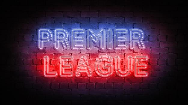 Neonowy znak premier league na ścianie z cegły. plakat renderowania 3d