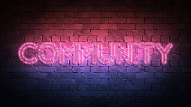 Neonowy znak społecznościowy na ścianie