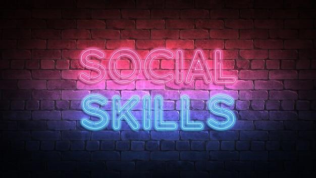 Neonowy znak umiejętności społecznych na ścianie