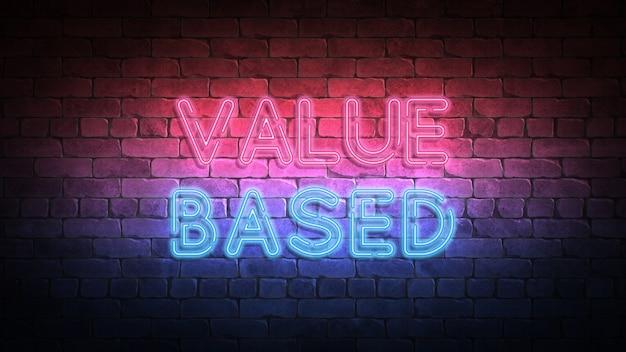 Neonowy znak wartościowy na ścianie