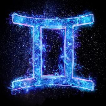 Neonowy znak zodiaku bliźnięta dla horoskopu astrologicznego