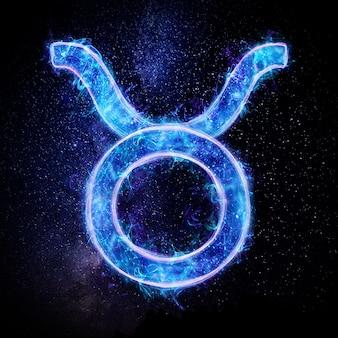 Neonowy znak zodiaku byk dla horoskopu astrologicznego