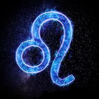 Neonowy znak zodiaku lew dla horoskopu astrologicznego