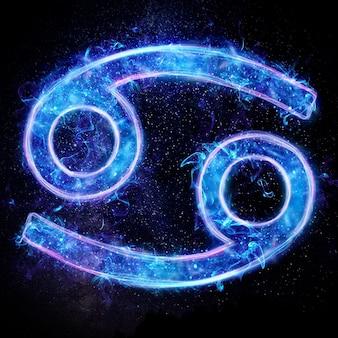Neonowy znak zodiaku rak dla horoskopu astrologicznego