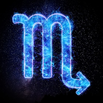 Neonowy znak zodiaku skorpion do horoskopu astrologicznego
