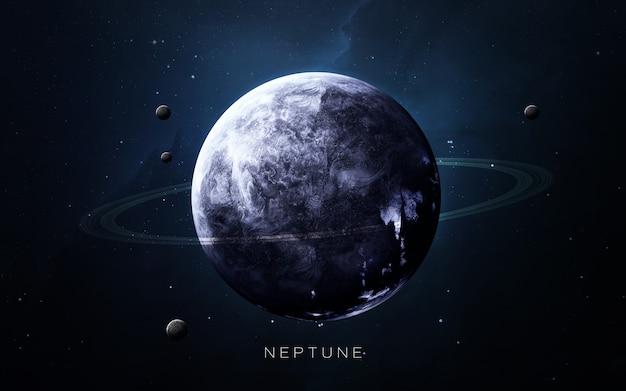 Neptun w przestrzeni, ilustracja 3d. .