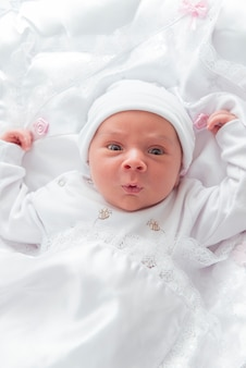 New born baby looking
