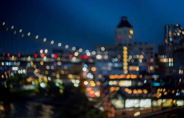 New york skyline noc niewyraźne światła miasta centrum