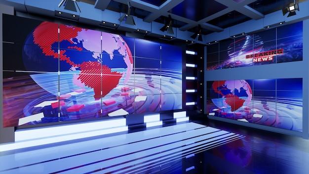 News studio dla programów telewizyjnych wirtualne wiadomości