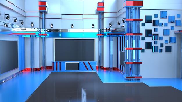 News studio, tło dla programów telewizyjnych .tv on wall. 3d virtual news studio background, 3d illustration