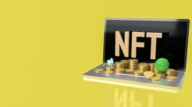 Nft lub non fungible token dla koncepcji sztuki i technologii renderowania 3d
