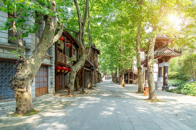 Niczyje ulice miasta, domy w stylu chińskim, duyun, guizhou, chiny.