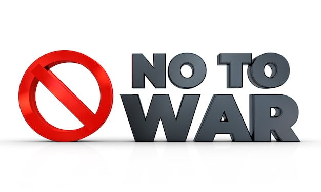 Nie do wojny znak na białym tle w renderowania 3d ilustracji 3d