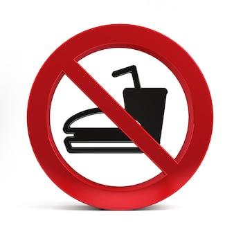 Nie znak pić żywności lub napojów samodzielnie na białym tle renderowania 3d.