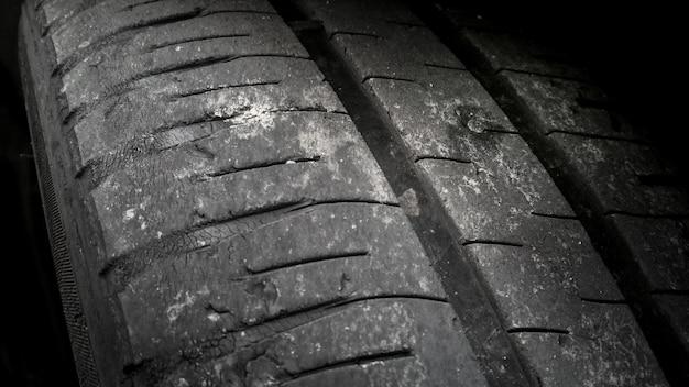 Niebezpieczeństwo użycia starej opony samochodowej zwierciadła z metalowym gwin- tem śrubowym