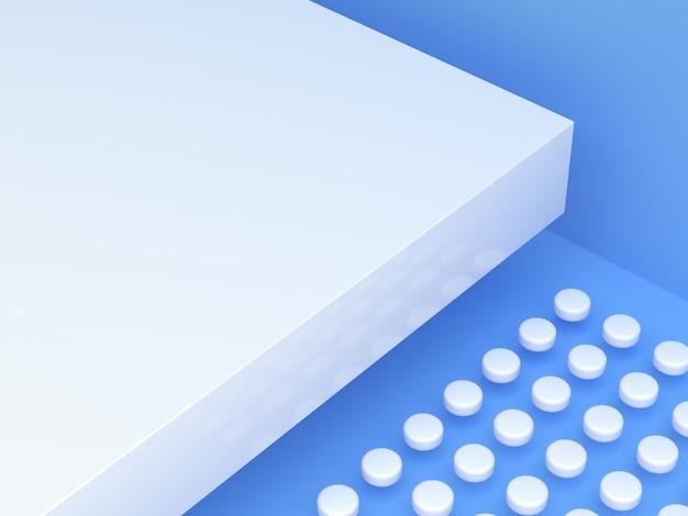 Niebieska biała scena renderowania 3d puste podium streszczenie nowoczesne tło