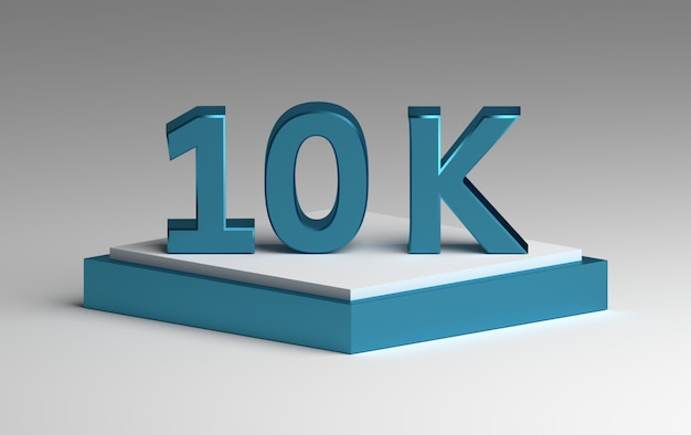 Niebieska błyszcząca liczba 10k na cokole