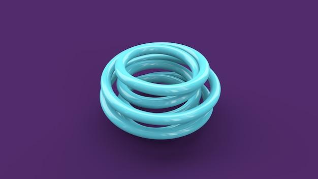Niebieska błyszcząca spirala. fioletowe tło. streszczenie ilustracji, renderowania 3d.