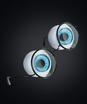 Niebieska gałka oczna ludzkiego oka i czarne okrągłe okulary unoszące się na ciemnym tle. pojęcie ludzi to problemy ze wzrokiem lub krótkowzroczność w surrealistycznym stylu.
