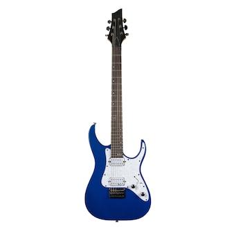 Niebieska gitara elektryczna na białym tle