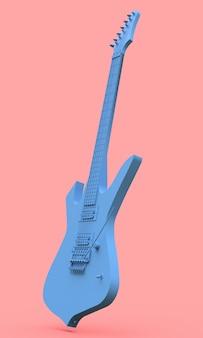 Niebieska gitara elektryczna w stylu minimal na różowo