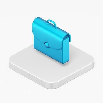 Niebieska ikona teczki w 3d renderowania elementu interfejsu ui ux