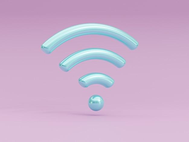 Niebieska ikona znak wifi na fioletowym tle dla symbolu sieci bezprzewodowej przez technikę renderowania 3d.