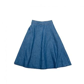 Niebieska jeansowa spódnica.