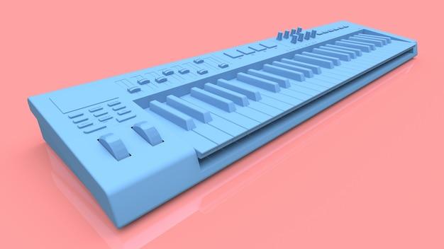 Niebieska klawiatura midi syntezatora na różowym tle. zbliżenie klawiszy syntezatora