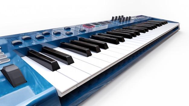 Niebieska klawiatura midi syntezatora