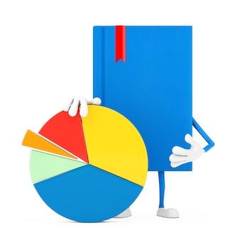 Niebieska książka charakter maskotka z wykresem kołowym firmy grafika informacje na białym tle. renderowanie 3d