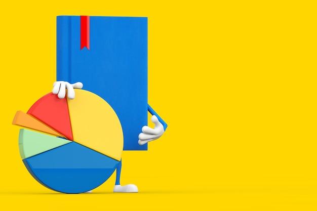 Niebieska książka charakter maskotka z wykresem kołowym firmy grafika informacji na żółtym tle. renderowanie 3d