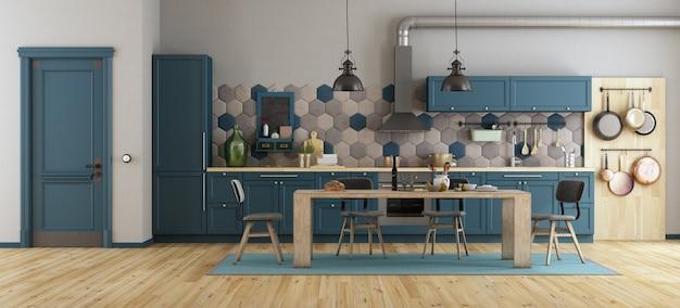Niebieska kuchnia w stylu retro