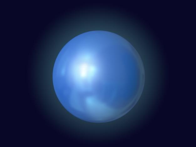 Niebieska kula błyszczące odbicie czarne tło