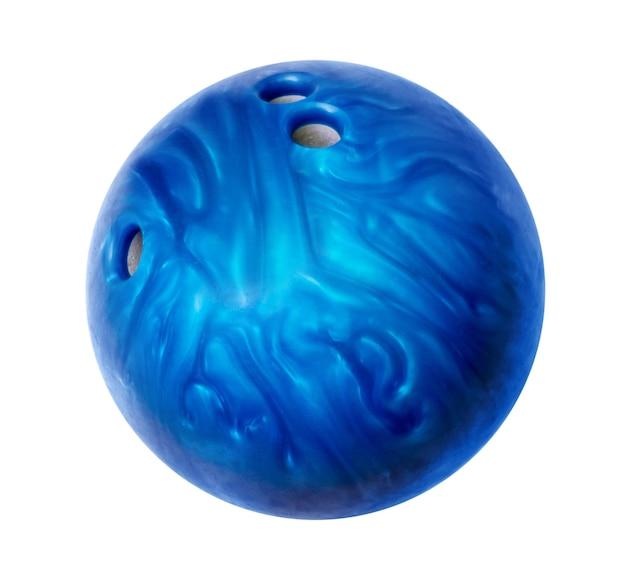 Niebieska kula do kręgli na białym tle